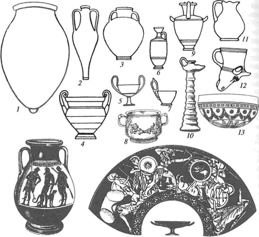 Античные керамические сосуды: 1 — пифос; 2 — тарная амфора; 3 — столовая амфора; 4 — кратер; 5 — канфар; 6 — лекиф; 7 — киаф; 8— краснолаковый сосуд с рельефным орнаментом; 9 — гидрия; 10— светильник; 11 — ойнохоя; 12— ритон; 13— «мегарская» чаша; 14— чернолаковая чернофигурная пелика; 15 — чернолаковый краснофигурный килик с разверткой росписи