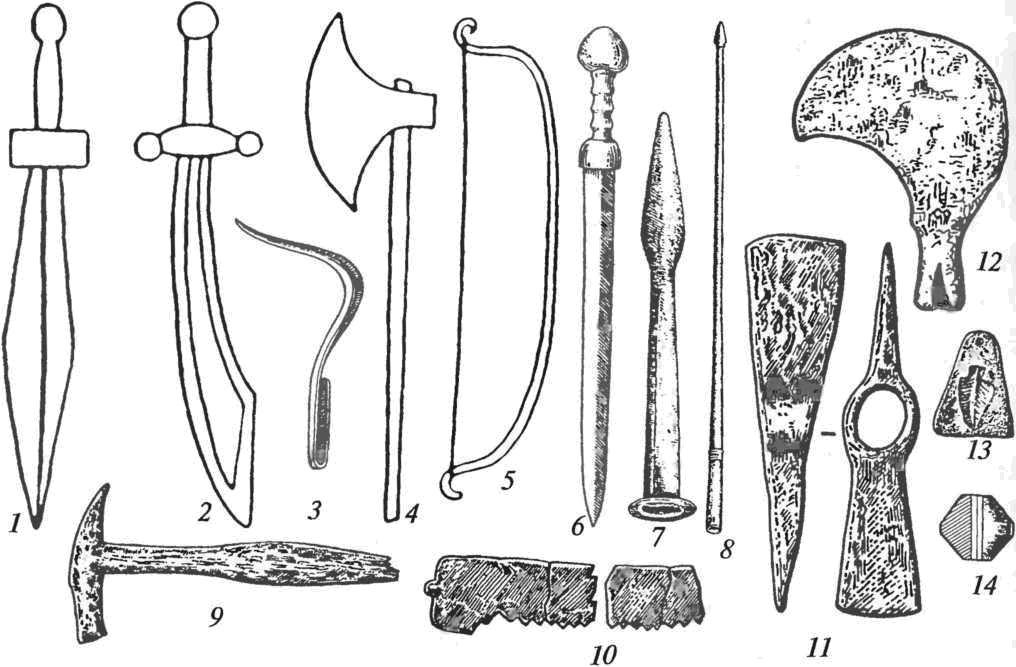 Античные орудия труда и другие изделия: 1 — меч прямой; 2 — меч-махайра; 3 — бронзовый стригиль; 4 — боевой топор; 5 — лук греческого типа; 6 — меч-гладиус; 7 — наконечник копья римского типа; 8 — наконечник пилума; 9 — молоток; 10 — фрагменты пилы; 11 — топор-тесло; 12 — виноградарский нож; 13 — керамический грузик для ткацкого станка; 14 — керамическое пряслице (1, 2, 4, 6-12 — железо)
