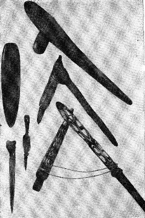 Каменные и костяные орудия папуасов