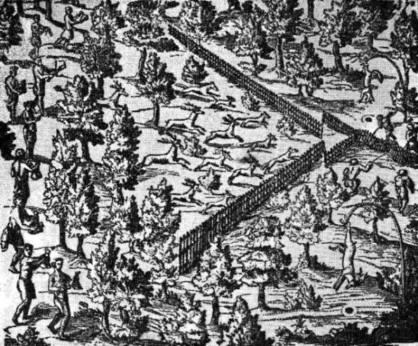 Загонная охота на оленей у североамериканских индейцев. Французский рисунок начала XVII в.