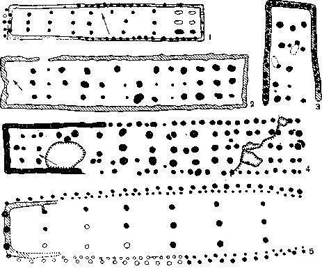 Планы больших домов раннеземледельческих племен Европы 4-3 тысячелетий до н. э.: 1—2 — Нидерланды; 3, 5 — ГДР; 4 — Чехословакия; 6 — Польша