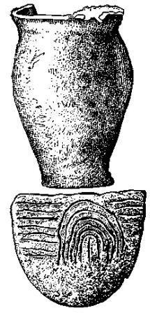 Рис. 142. Горшок горгенской культуры из парижского каменного ящика (Мюро) (1/5) и сосуд с каннелированным орнаментом из Конгеля (Морбиган) (1/3).