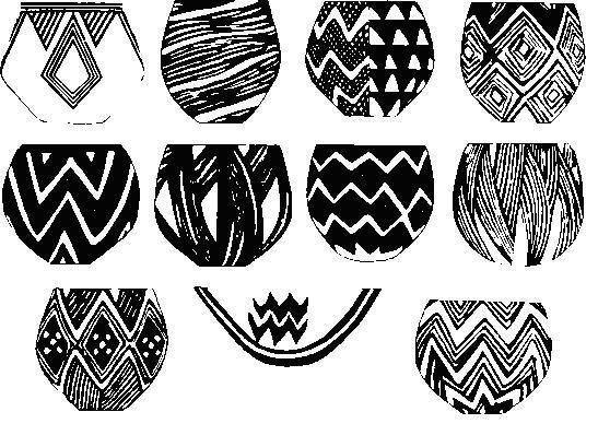 Расписная керамика культуры Далмы. Первый сосуд, в верхнем ряду слева, относится к более ранней культуре Хаджи Фируза.