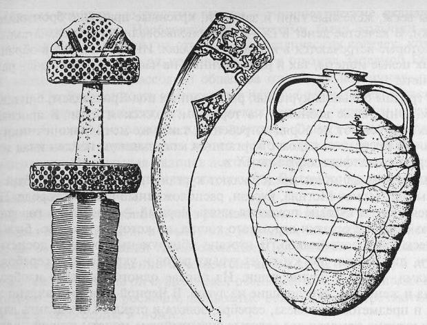 Вещи из дружинных курганов: рукоятка меча; турий рог из Черной Могилы; корчага с древнерусской надписью