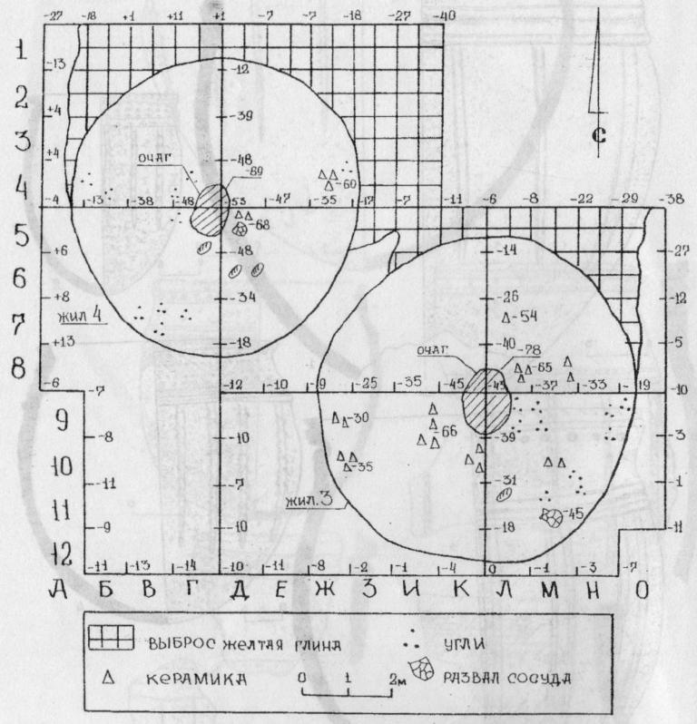 Рис. 6. Поселение Сосновка-3. План раскопа 3, жилища 3 и 4.