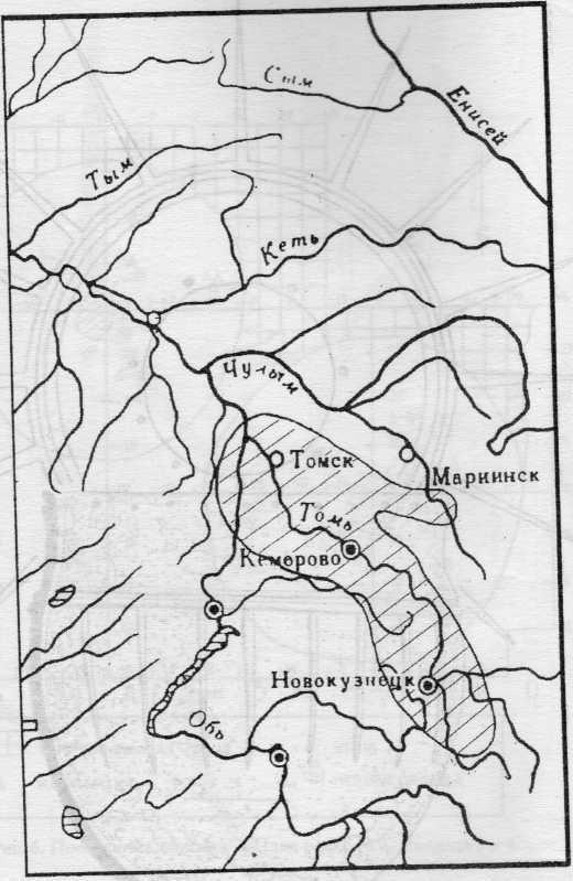 Рис. 8. Карта ареала лачиновской культуры.