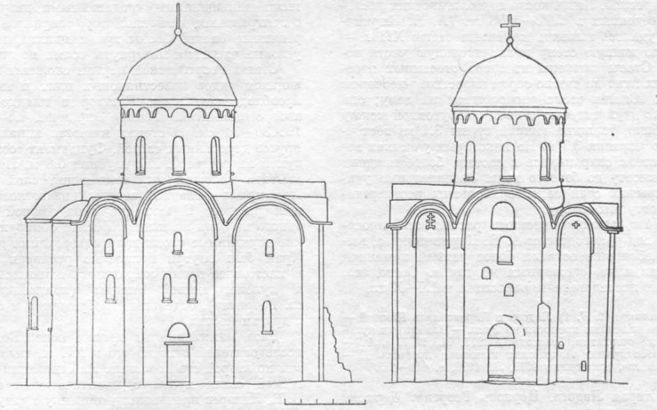 Рис. 21. Старая Ладога. Успенская церковь. Северный и западный фасады.