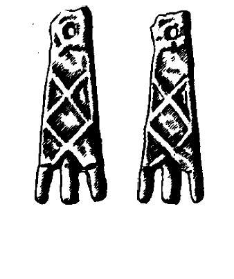 Лапчатые подвески. Титовсний могильник, курган 5, могила 7