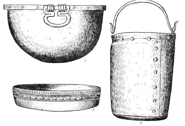 Рис. 44. Латенская бронзовая посуда: 1 — котелок, 2 — таз, 3 — ведро-циста