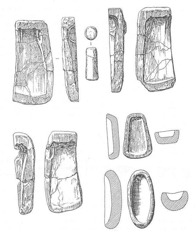 Рис. 43. Литейные формы из погребения кузнеца-литейщика новотитаровской культуры (курганная группа Лебеди I).