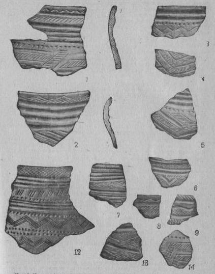 Рис. 3. Керамика Черкаскульского типа. 1—11 — селище Черкаскуль II, 12-14 — селище на оз. Березовом.