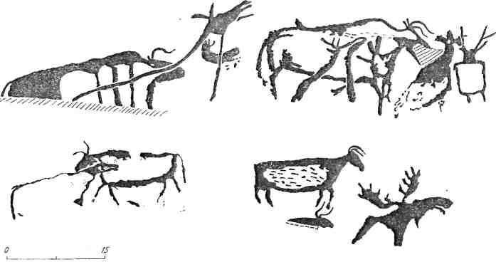 Рис. 103. Сочетание образов лося и быка в петроглифах Енисея