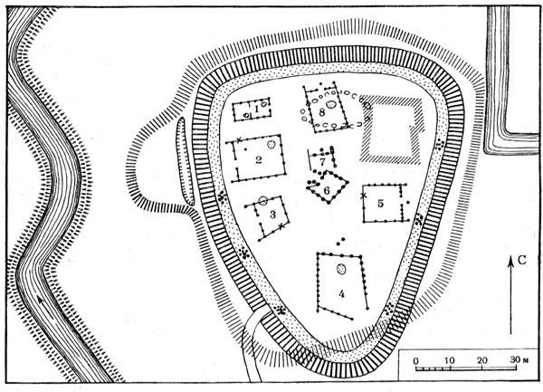Рис. 54. План городища Баальсхеббель: 1—8 — деревянные наземные жилища