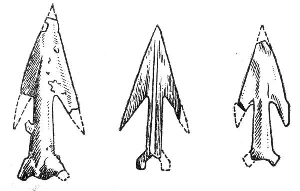 Рис. 60. Бронзовые наконечники стрел Лужицкой культуры