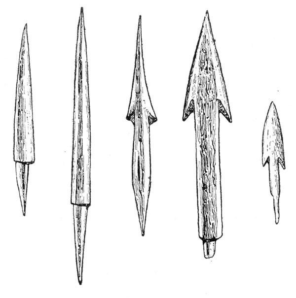 Рис. 61. Костяные наконечники стрел Лужицкой культуры
