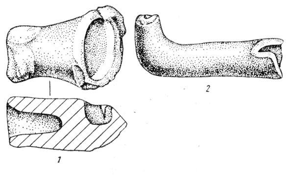 Рис. 67. Льячка (1) и сопло (2) с Бискупинского городища
