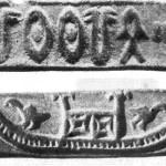 Рис. 51. Мохенджо-даро. Печать с изображением судна (а, б). Камень.