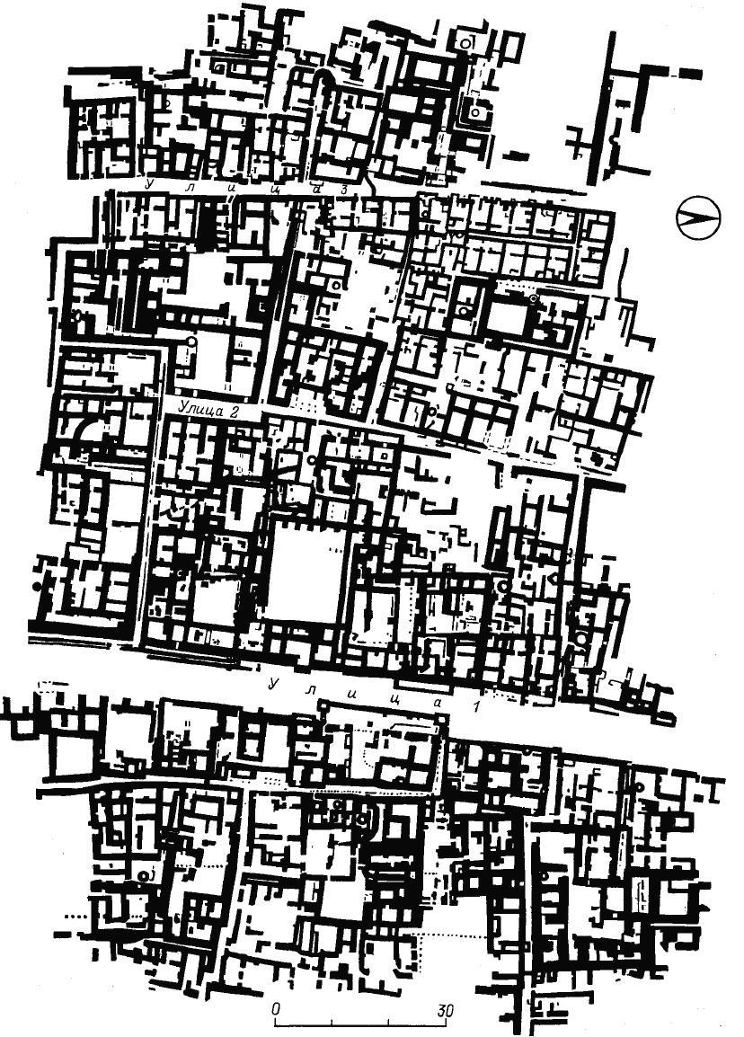 Рис. 49. Мохенджо-даро. Планировка городских кварталов.