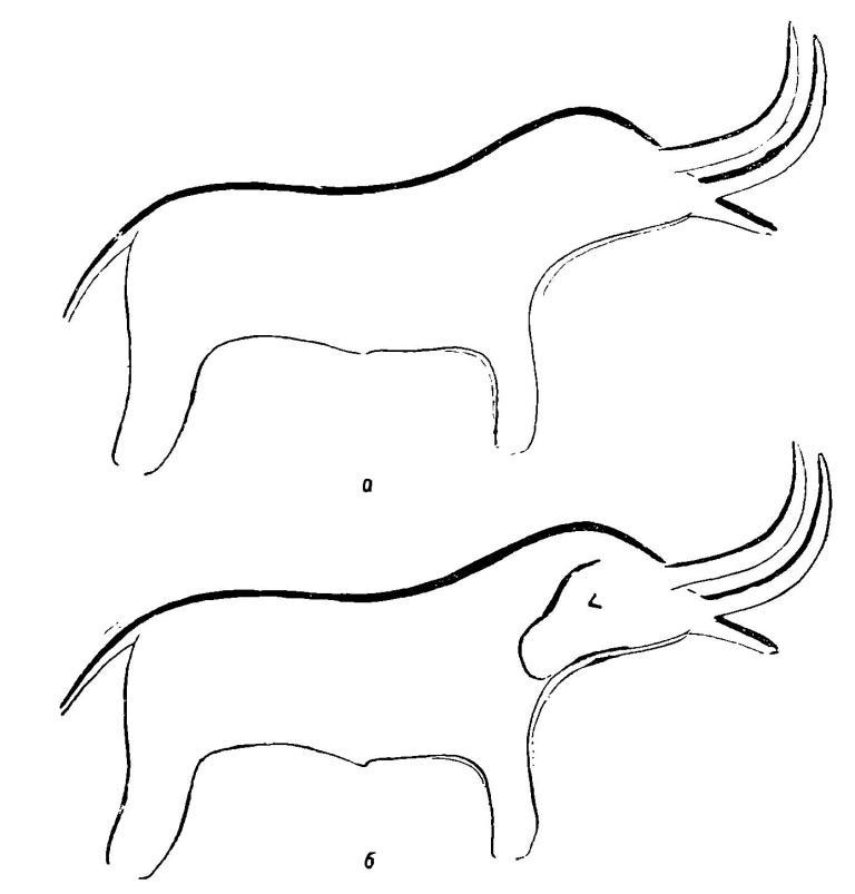 """Рис. 7. а — изображение в """"мамонтовом гроте""""; б — то же изображение с подчеркнутой деталью части головы."""