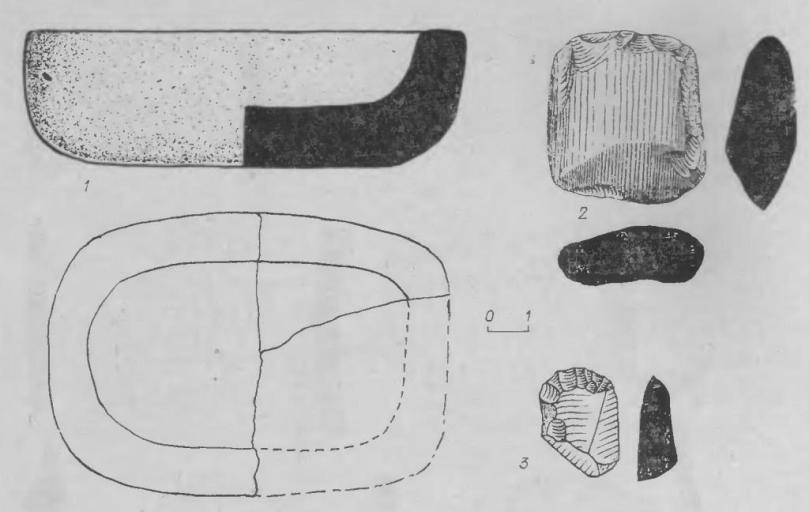 Рис. 9. 1 — тигель и 2 — топор из жилища № 3 поселения Марково-2; 3 — скребок из стоянки Кама-2.