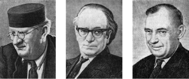 М.Е. Массон (1897—1986).М.П. Грязнов (1902-1984).       С.С. Черников (1909-1976)