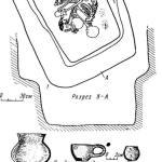 Рис. 3. Койсугские курганы. План погр. 24 кург. «Радутка» и вещи из него (1—8)