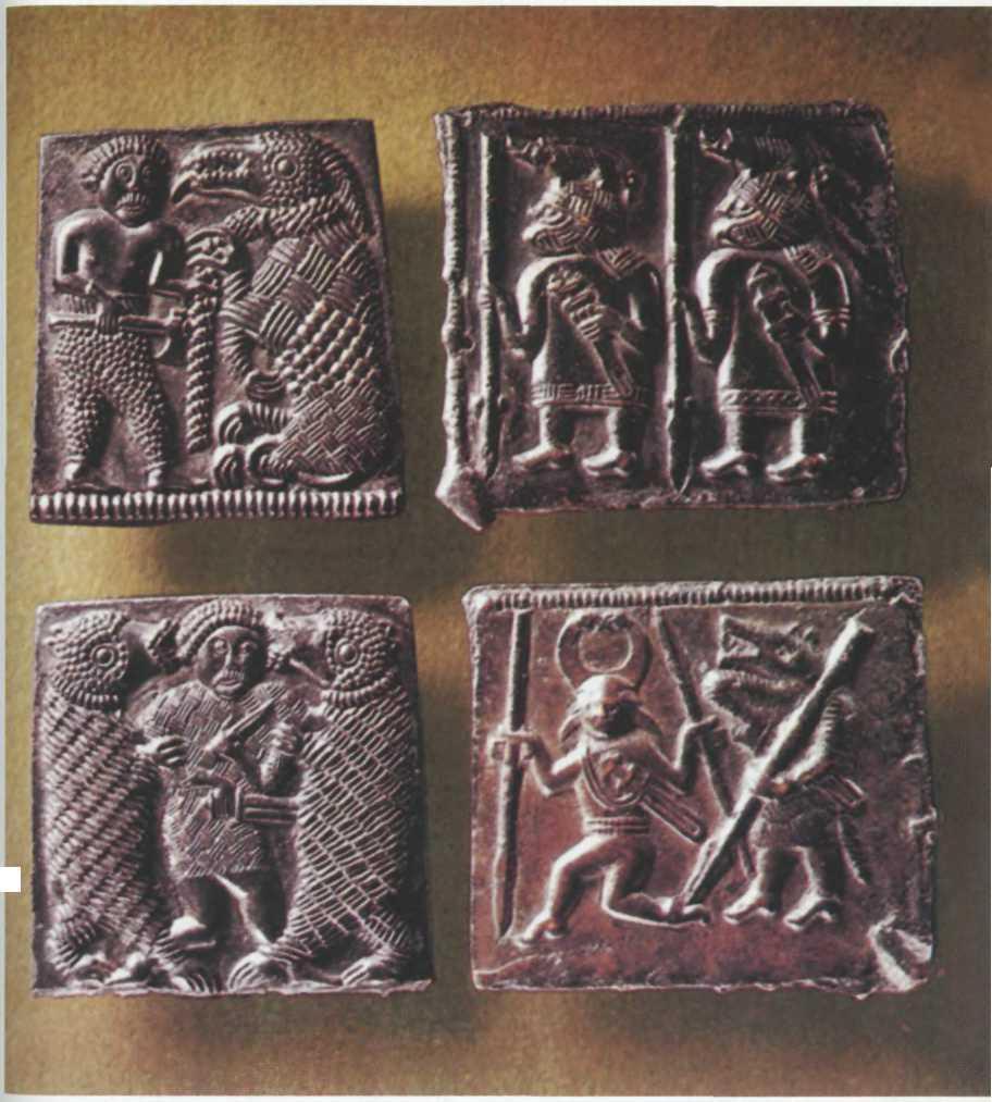 Бронзовые матрицы для изготовления чеканных пластин, VII в., найдены в Торслунде на о. Эланд, Швеция