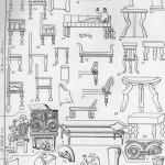Таблица CXXIX. Мебель 1 — кресло; 2 — стул (рисунок на чернофигурном аттическом сосуде, VI в. до н. э.); 3, 4, 10, 11—24, 26—29, 31—34 — изображение различных видов мебели в росписях, рельефах и т. п.; 2а — костяная накладка, Ольвия (?); За — бронзовая ножка, Пантикапей; 5 — деревянная ножка из 6-го Семибратнего кургана; 6 — костяное украшение ложа из Куль-Обы; 8 — мраморная ножка кресла или стола; 9 — ложе из Ар-тюховского кургана; 25 — терракотовая модель кресла, Пантикапей; 30 — реконструкция стола, Пантикапей, раскопки 1842 г. Составители Е. А. Савостина и Г. А. Цветаева
