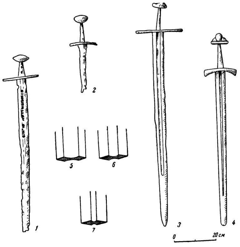 Рис. 6. Мечи. 1, 2 — Львовский исторический музей (тип V); 3 — Львовский исторический музей (тип IV); 4 — Воздвиженское (?), Костромской музей (тип III); 5—7 — изменение дола клинка с X в. по XIV в.