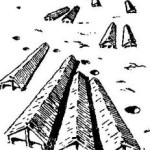 """Рис. 1. Поселение """"культуры ленточной керамики"""" на Куявах (реконструкция)."""
