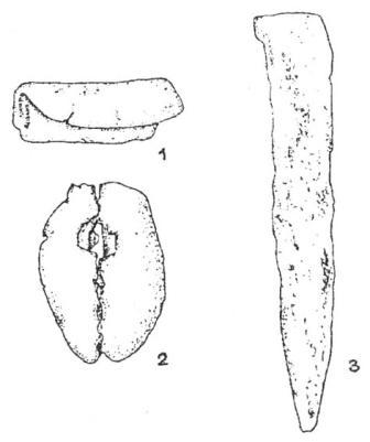 Рис. 1. Медные изделия VII тыс. до н. э. с территории Ближнего Востока. 1 - подвеска из Али Кош; 2 - бусина из Телль Рамад; 3 - шило из Телль Магзалия.