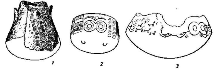 Рис. 126. Поздненеолитический сосуд из Трес Кабесоса и сосуды медного века из Лос Мильяреса.