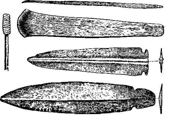Рис. 128. Медные кинжалы и тесло (Алькала), костяная булавка (Кабесо да Министра) (1/2).