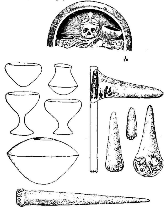 Рис. 130. Погребальный сосуд аргарской культуры с находящейся в нем диадемой; погребальные сосуды; алебарда и лезвия кинжалов; меч.