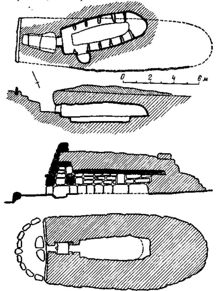 Рис. 105. Гробница, высеченная в скале, Майорка, и гробница типа «наветас», Менорка.