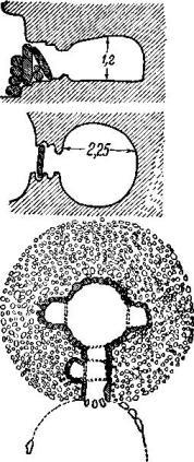 Рис. 104. Высеченная в скале гробница в Силукане I, Кастеллуччо, и гробница со ступенчатым сводом, Лoc Мильярес.