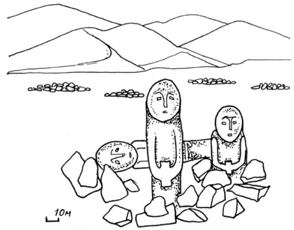 Рис. 5.15. Каменные изваяния Мерке. (по Э.А. Новгороовой)