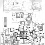 Таблица XXX. Мирмекий 1 — план Мирмекия с обозначением раскопанных участков; 2 — схематический план Мирмекия по В. Ф. Гайдукевичу; 3 — то же по Бларамбергу; 4 — план раскопа «И»: а — VI—V вв. до н. э.; б —IV в. до н. э.; в —I—III вв. н. э.; г — вымостки; д — III—I вв. до н. э. (по материалам В. Ф. Гайдукевича) . Составитель И. Г. Шургая