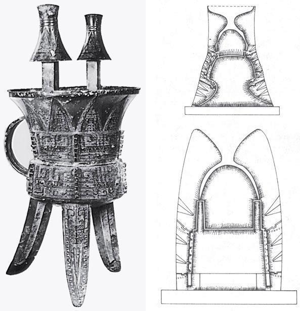 Рис. 11.14. Ритуальный бронзовый сосуд эпохи династии Шань, приблизительно XII век до н. э., и схемы глиняных форм для отлива таких сосудов. Размеры 52,8 х 30,5 см