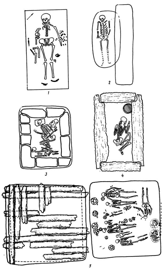 Рис. 15. Различные виды погребений: 1 - одиночное в грунтовой яме; 2 - в подбое; 3 - в камечном ящике; 4 - в срубе; 5 - коллективное