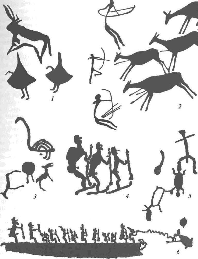 Сюжеты наскальных изображений мезолита и неолита: 1 — фрагмент фрески Зараут-Сая (Узбекистан); 2 — сцена охоты на оленей (Испания); 3, 5 — петроглифы (Онежское озеро); 4, 6 — петроглифы (Белое море)