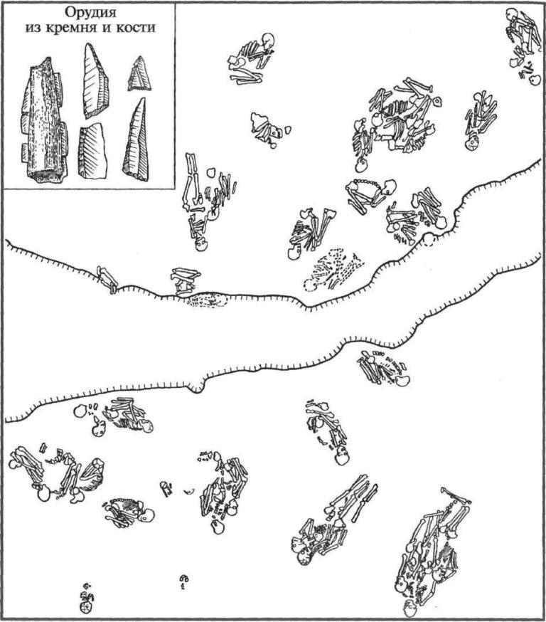 План расположения погребений мезолитического могильника Васильевский 3