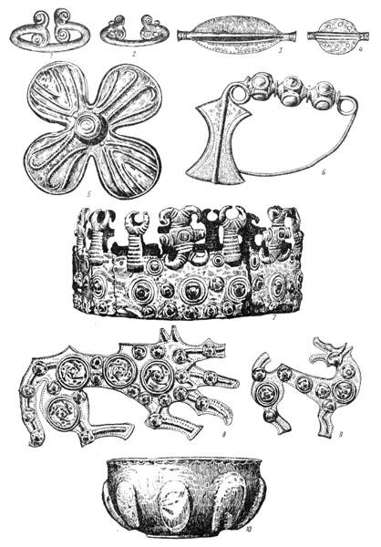 Рис. 133. Михалковский клад золотых вещей: 1,2 — браслеты, 3, 4 — пронизи-бусы, 5 — бляха, 6 — фибула, 7 — диадема, 8, 9 — зооморфные фибулы, 10 — чаша