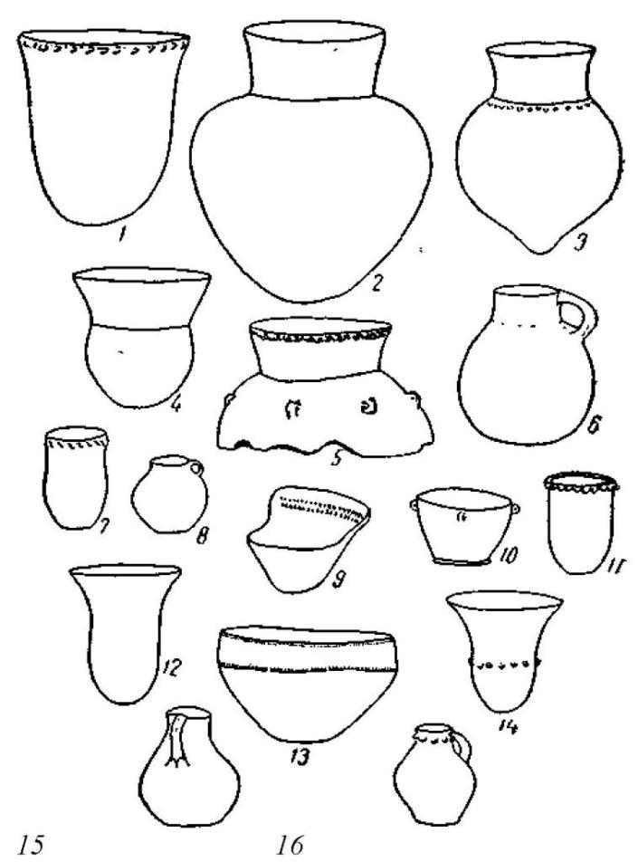 Рис. 133. Михельсбергская керамика.