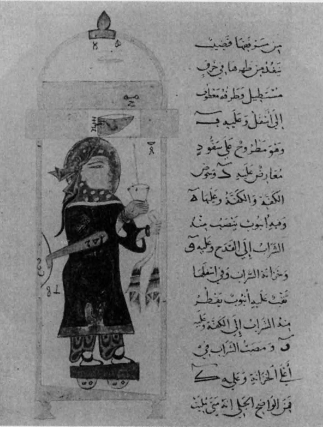 120.Миниатюра из книги об «автоматах» ал-Джазари, изображающая чашу для вина с механизмом