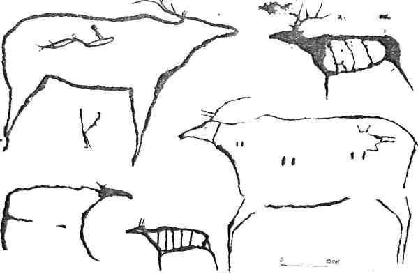 Рис. 104. Рисунки «минусинской традиции»