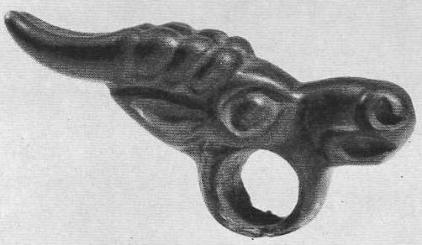 125. Бронзовая пронизка с головкой козла. Минусинская степь.