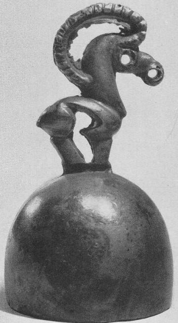 127. Колоколовидное навершие с фигурой козла. Минусинская степь.