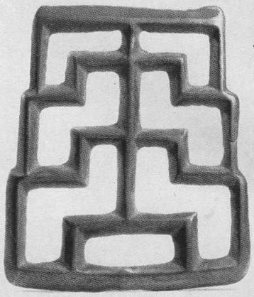 157. Застёжка с орнаментом из ломаных линий. Минусинская степь.