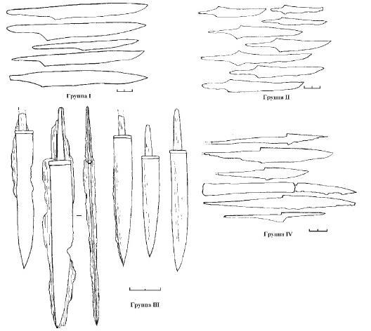 Рис. 57. Группировка ножей Восточной Европы эпохи раннего средневековья (вторая половина I тыс. н. э.) по Р.С. Минасяну.